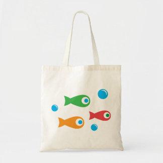 Tres pescados lindos bolsa tela barata