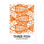 Tres pescados - naranja en blanco tarjetas de visita grandes