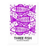 Tres pescados - púrpura tarjetas de visita grandes
