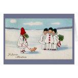 Tres Pierrots y un cerdo en navidad de un correo Tarjeta De Felicitación