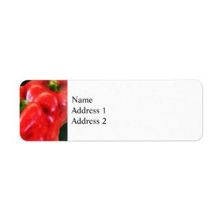 Tres pimientas rojas etiqueta de remite