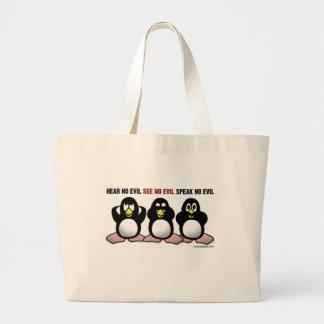 Tres pingüinos sabios bolsa tela grande