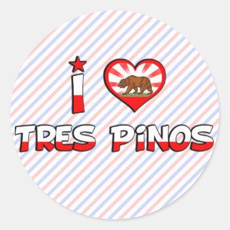 Tres Pinos, CA Pegatina Redonda