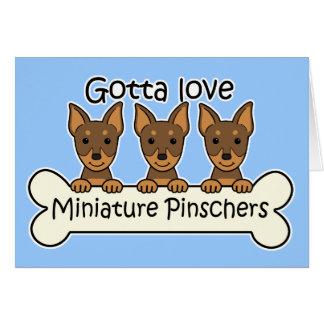 Tres Pinschers miniatura Tarjetas