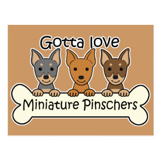 Tres Pinschers miniatura Postal