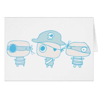 Tres piratas blueprinted felicitación