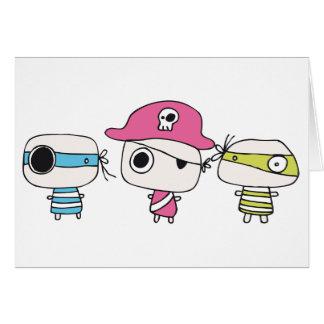 Tres piratas van en colores pastel tarjetón