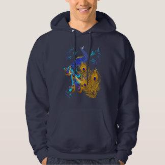 Tres plumas y camisetas de un pavo real sudaderas con capucha
