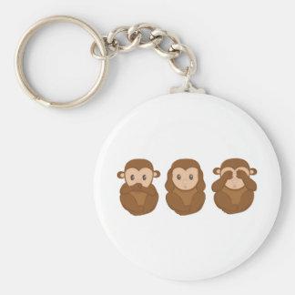 Tres poco monkeye llavero redondo tipo pin