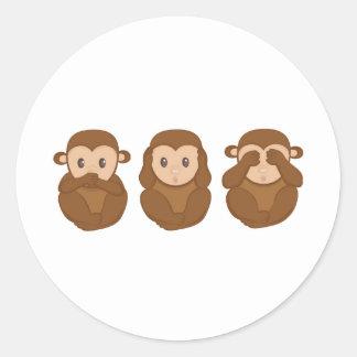 Tres poco monkeye pegatinas redondas