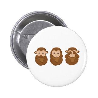 Tres poco monkeye pin redondo 5 cm