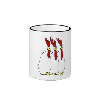 tres pollos taza de dos colores
