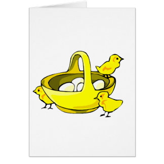 tres polluelos amarillean la cesta eggs.png blanco tarjeta pequeña