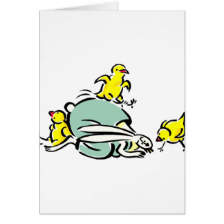 tres polluelos amarillos que bailan en bunny.png tarjeta pequeña