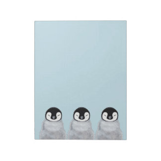 Tres polluelos del pingüino del bebé el dormir bloc de notas