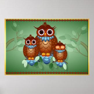 Tres posters alertas de los pequeños búhos