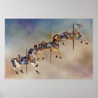 Tres posters de los caballos del carrusel bella a
