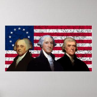 Tres presidentes y la bandera americana poster