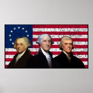 Tres presidentes y la bandera de los E.E.U.U. -- F Póster