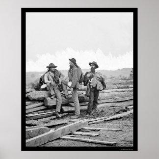 Tres presos confederados en Gettysburg 1863 Póster