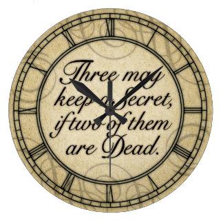 Tres pueden guardar una cita secreta reloj redondo grande