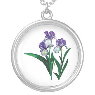 Tres púrpuras e iris blancos pendiente personalizado