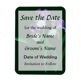Tres púrpuras y los iris blancos ahorran la fecha iman rectangular