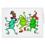 Tres ranas de baile felicitacion