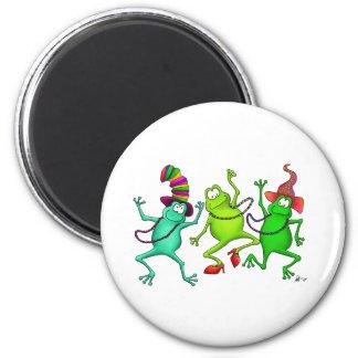 Tres ranas de baile imán redondo 5 cm