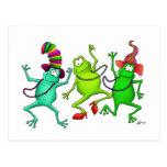 Tres ranas de baile postales