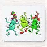 Tres ranas de baile tapete de raton