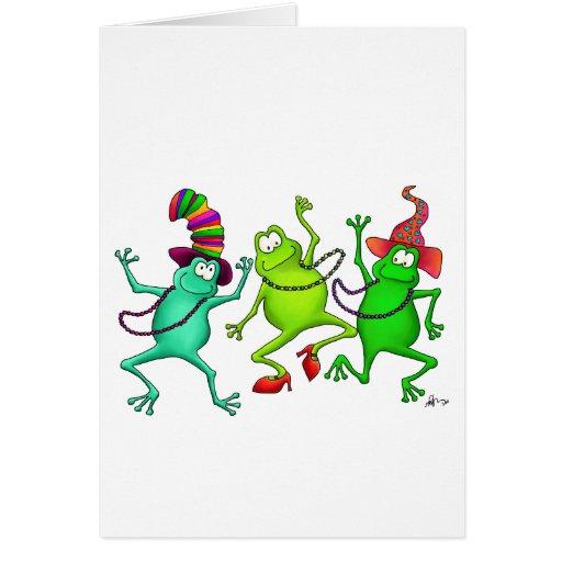 Tres ranas de baile tarjeta de felicitación