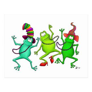 Tres ranas de baile tarjeta postal