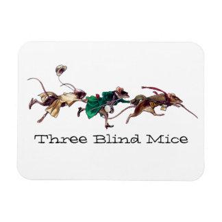 Tres ratones ciegos imán foto rectangular