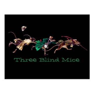 Tres ratones ciegos postal