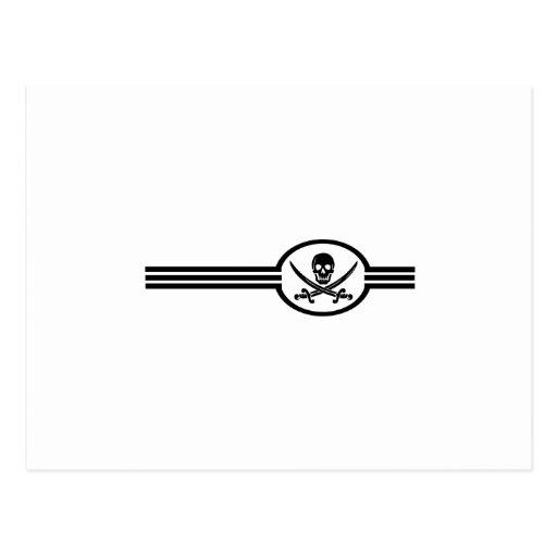 Tres rayas cráneo y espadas postal