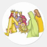 Tres reyes Birth Cristo Pegatinas Redondas