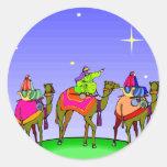 Tres reyes Follow Christmas Star Pegatina Redonda