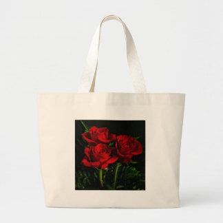 Tres rosas bolsa tela grande