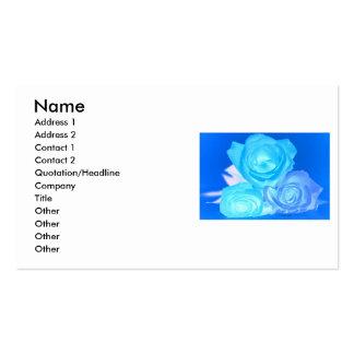 Tres rosas color azul invertido que brilla intens plantillas de tarjetas de visita
