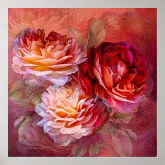 Tres rosas - rojo - poster de la bella arte