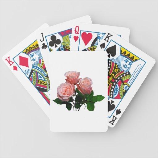 Tres rosas rosas claros cartas de juego