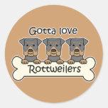 Tres Rottweilers Pegatinas Redondas
