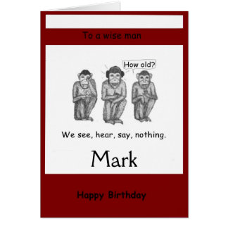 Tres sabios, moderno, Monkeys tarjetas de cumpleañ