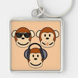 Tres sabios y monos enrrollados llavero cuadrado plateado