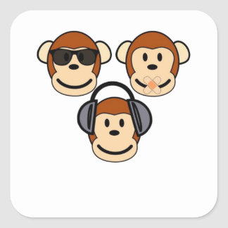 Tres sabios y monos enrrollados pegatina cuadrada