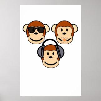 Tres sabios y monos enrrollados póster