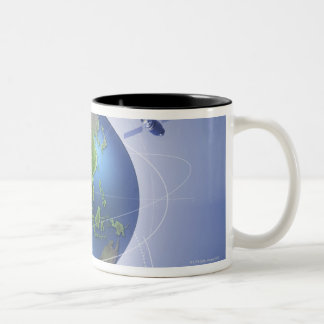 Tres satélites taza de café