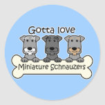 Tres Schnauzers miniatura Etiquetas