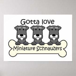 Tres Schnauzers miniatura Poster